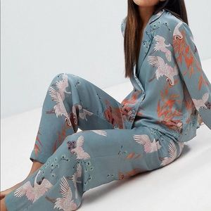 Brand new unique print blouse and pant set